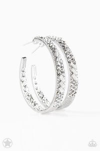 "Paparazzi ""Glitzy By Association"" BLOCKBUSTER White Rhinestones Chunky Silver Tone Hoop Earrings Paparazzi Jewelry"