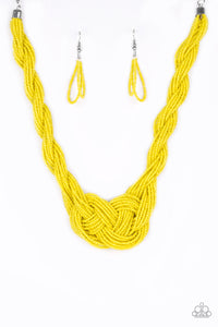 "Paparazzi ""A Standing Ovation"" Yellow Knotted Seed Bead Necklace & Earring Set Paparazzi Jewelry"