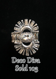 "Paparazzi ""Deco Diva"" 103 October 2019 Life of the Party Exclusive White Gem Silver Ring Paparazzi Jewelry"