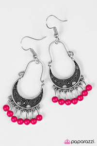 "Paparazzi ""Hopelessly Houston"" Pink Bead Silver Tone Earrings Paparazzi Jewelry"
