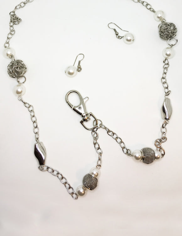 Paparazzi RETIRED White Pearl Ornate Silver Bead Lanyard Necklace  & Earring Set Paparazzi Jewelry