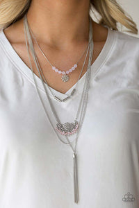 "Paparazzi ""Malibu Mixer"" 2018 SUMMER PARTY PACK EXCLUSIVE Pink Crystal Like Bead Multi Chain Silver Necklace & Earring Set Paparazzi Jewelry"