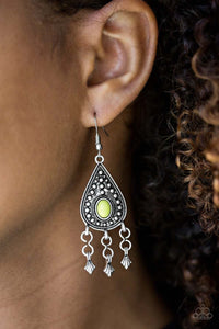 "Paparazzi ""Sahara Song"" 2018 SUMMER PARTY PACK EXCLUSIVE Green Bead Silver Teardrop Earrings Paparazzi Jewelry"