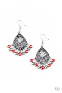 "Paparazzi ""Gracefully Gatsby"" Multi Red and Silver Pearl Fringe Ornate Silver Earrings Paparazzi Jewelry"