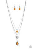 "Paparazzi ""Tide Drifter "" Orange Teardrop Silver Necklace & Earring Set Paparazzi Jewelry"