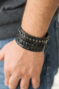 "Paparazzi ""Recklessly Rebel"" 2018 SUMMER PARTY PACK EXCLUSIVE Black Leather Studded Urban Wrap Bracelet Unisex Paparazzi Jewelry"