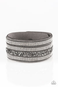 "Paparazzi ""Really Rock Band"" Silver Gray Suede Gunmetal Chain Hematite Rhinestone Wrap Bracelet Paparazzi Jewelry"