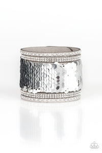 "Paparazzi ""MERMAIDS Have More Fun"" Silver 123XX Sequin Gray Suede Wrap Bracelet Paparazzi Jewelry"