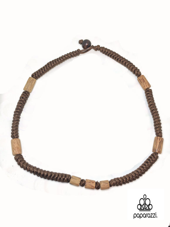 Paparazzi Brown long Wooden Beads Urban Necklace Unisex Paparazzi Jewelry