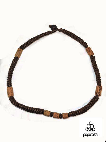 Paparazzi Brown Long Wooden Beads Black Cord Urban Necklace Unisex Paparazzi Jewelry