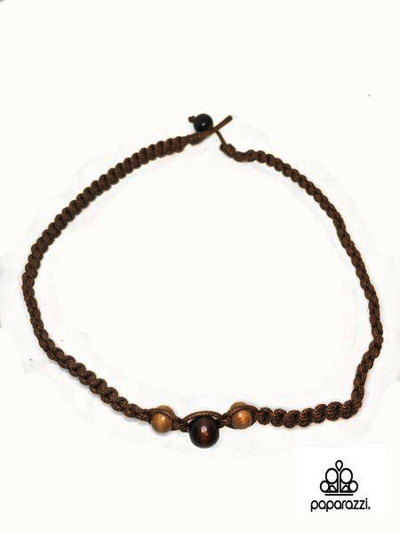 Paparazzi Brown Wooden Beads Black Cord Urban Necklace Unisex Paparazzi Jewelry