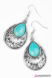 "Paparazzi ""Take Me To The River"" Blue Turquoise Silver Tone Earrings Paparazzi Jewelry"