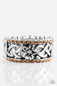 "Paparazzi ""Tropical Springs"" Orange Rhinestone Silver Floral Ring Paparazzi Jewelry"