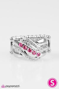 "Paparazzi ""Flirting With Sparkle"" Pink and White Rhinestones Silver Tone Ring Paparazzi Jewelry"