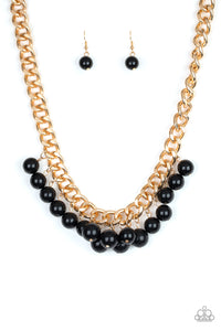 "Paparazzi ""Get Off My Runway"" Gold Black Bead Necklace & Earring Set Paparazzi Jewelry"