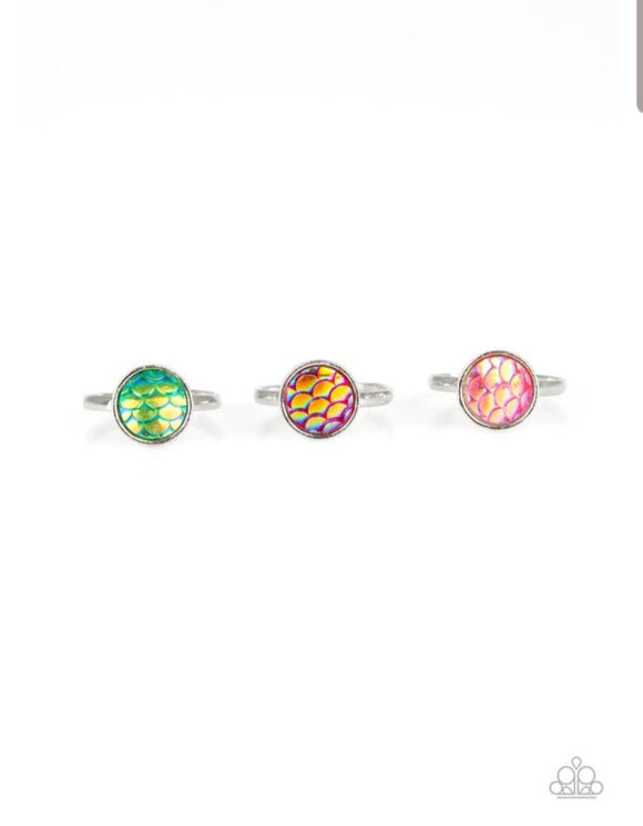 Girl's Starlet Shimmer 10 for $10 Multi Color Mermaid Scale Shimmery 176XX Silver Rings Paparazzi Jewelry