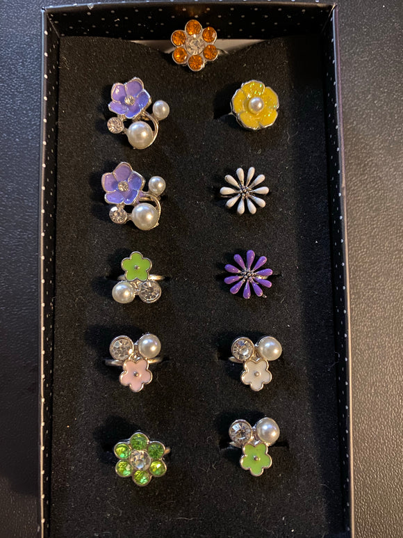 Paparazzi VINTAGE VAULT Starlet Shimmer Multi Color Daisy Flower Rhinestone Rings Silver Lot#61 Paparazzi Jewelry
