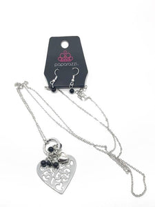 "Paparazzi ""Romeo Romance"" Black Bead  Rhinestone Silver Heart Necklace & Earring Set Paparazzi Jewelry"