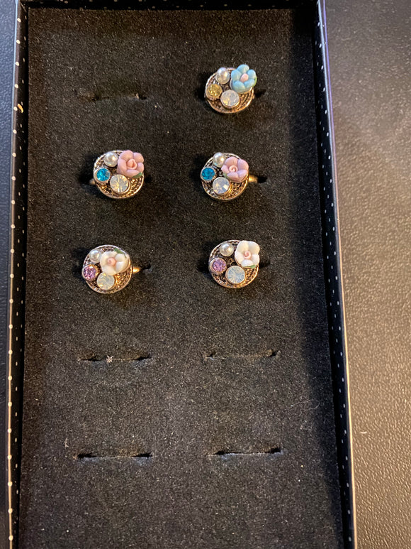 Paparazzi VINTAGE VAULT Starlet Shimmer Multi Color Flower Opalescent Rhinestone Rings Silver Lot#58 Paparazzi Jewelry