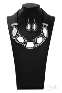 "Paparazzi ""Rivalry"" Black Leather Geometric Gem Silver Frame Necklace & Earring Set Zi Collection Paparazzi Jewelry"