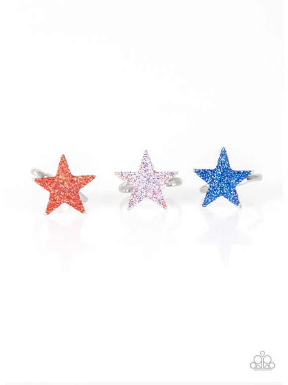 Girl's Starlet Shimmer 10 for $10 Multi Color Glitter Silver Star 183XX Rings Paparazzi Jewelry