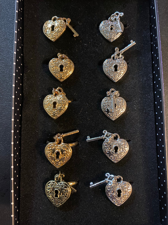 Paparazzi VINTAGE VAULT Starlet Shimmer Heart Key Rings Gold Silver Brass Lot#47 Paparazzi Jewelry