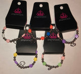Girls Multi Color & Silver Bead Cloud Charm Starlet Shimmer Bracelets Set of 5 Paparazzi Jewelry