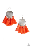 "Paparazzi ""Tassel Tribute"" Orange Thread Tassel Silver Frame Earrings Paparazzi Jewelry"