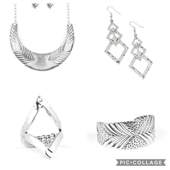Paparazzi VINTAGE VAULT FASHION FIX Sunset Sightings December 2019 SET Silver Crescent Necklace & Earring Set Bracelet Earrings Ring Paparazzi Jewelry