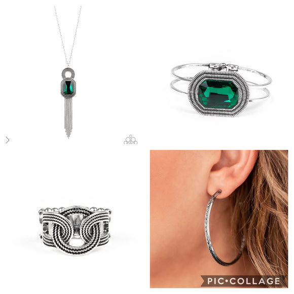 Paparazzi VINTAGE VAULT FASHION FIX Magnificent Musings December 2019 SET Green Gem Silver Necklace & Earring Set Earrings Bracelet Ring Paparazzi Jewelry