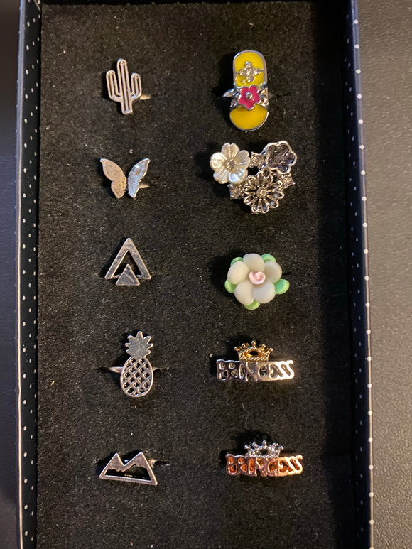 Paparazzi VINTAGE VAULT Starlet Shimmer Flowers & Fun Rings Lot#116 Paparazzi Jewelry