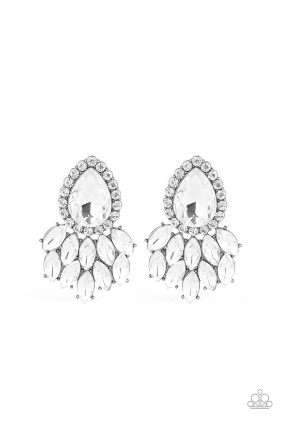 "Paparazzi ""A Breath of Fresh HEIR"" Black Gunmetal Frame White Marquise Shaped Rhinestone Earrings Paparazzi Jewelry"