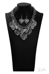 "Paparazzi ""Cherish"" Silver Floral Vine Like Filigree Heart Charm Necklace & Earring Set Zi Collection Paparazzi Jewelry"