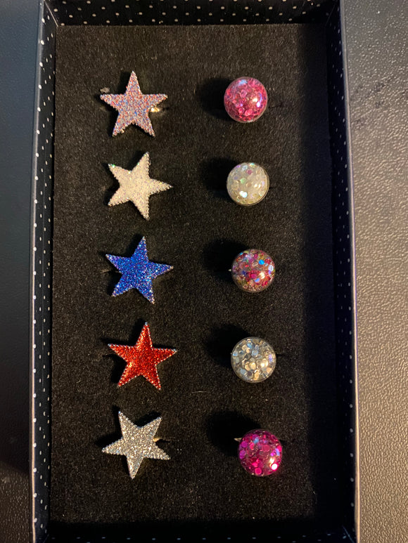 Paparazzi VINTAGE VAULT Starlet Shimmer Multi Color Glitter And Star Rings Lot#71 Paparazzi Jewelry