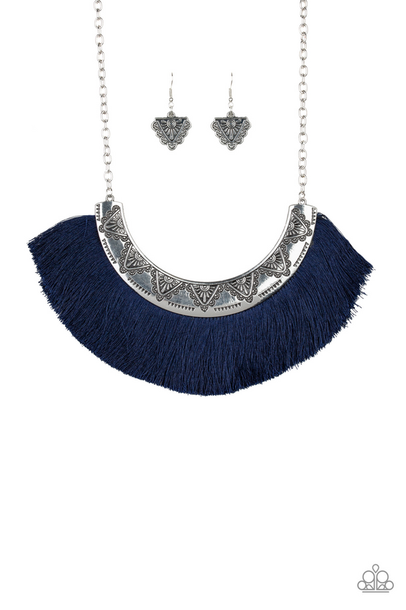 "Paparazzi ""Might and Mane"" Blue Thread Flare Silver Frame Necklace & Earring Set Paparazzi Jewelry"