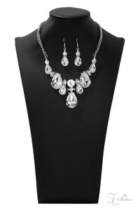 "Paparazzi ""Reign"" White Teardrop and Round Gem Silver Necklace & Earring Set Zi Collection Paparazzi Jewelry"