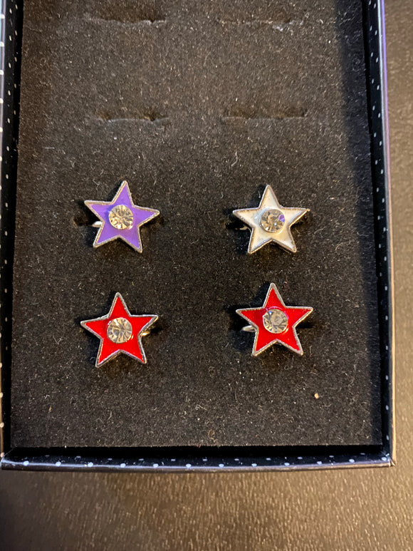 Paparazzi VINTAGE VAULT Starlet Shimmer Multi Color Star Red White Purple Rhinestone Rings Silver Lot#59 Paparazzi Jewelry