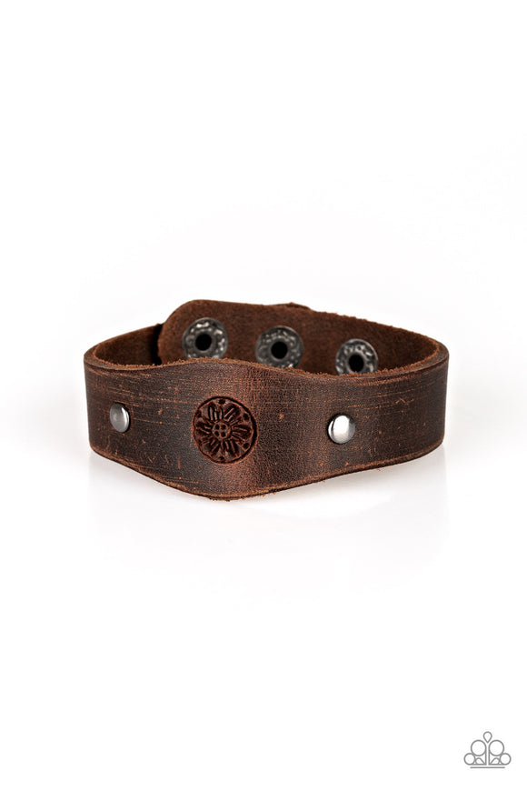 "Paparazzi ""Pleasantly Pioneer"" Brown Floral Design Silver Accent Urban Leather Wrap Bracelet Paparazzi Jewelry"
