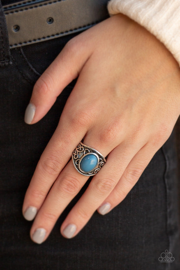 "Paparazzi ""Lets Take It From The POP"" Blue Bead Silver Vine Filigree Design Ring Paparazzi Jewelry"