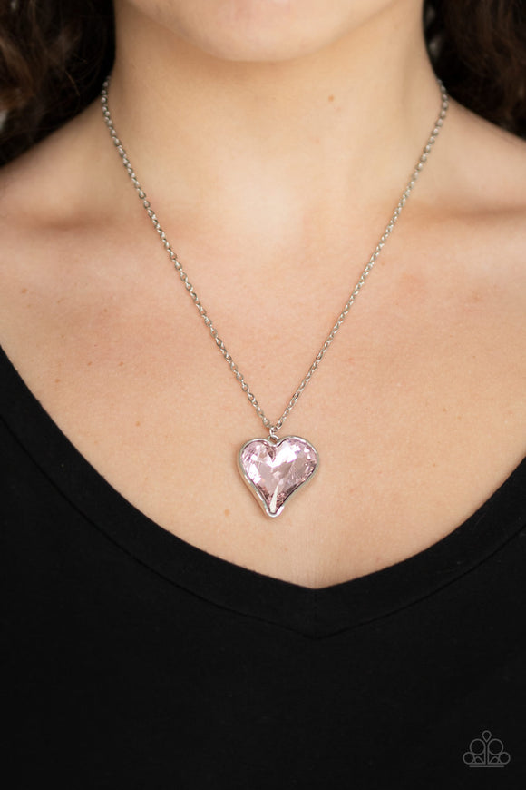 "Paparazzi ""Heart Flutter"" Pink Gem Heart Charm Silver Necklace & Earring Set"