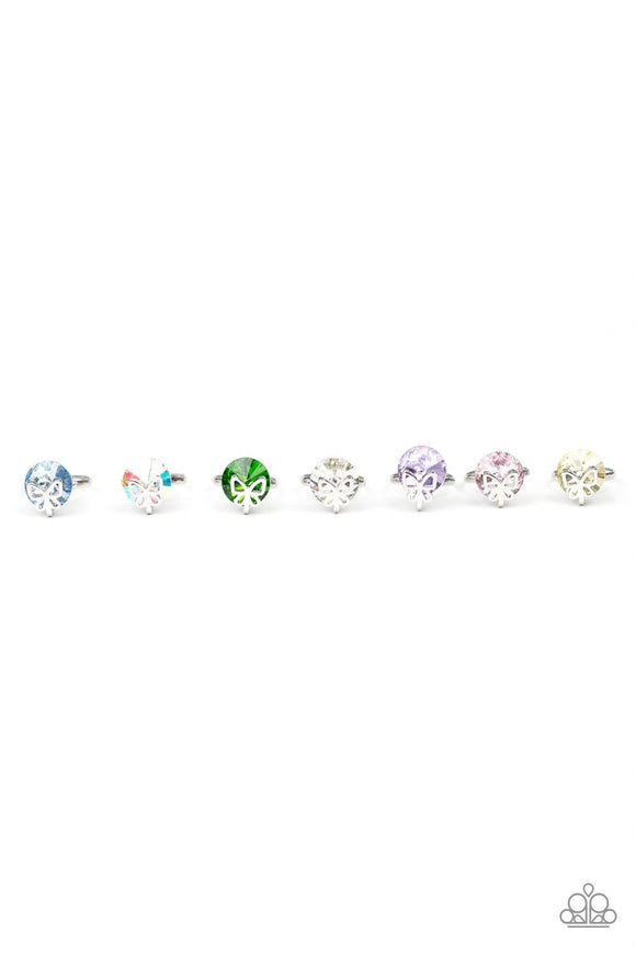 Girl's Starlet Shimmer 190XX Multi Color Round Gem Silver Butterfly 10 for $10 Rings Paparazzi Jewelry