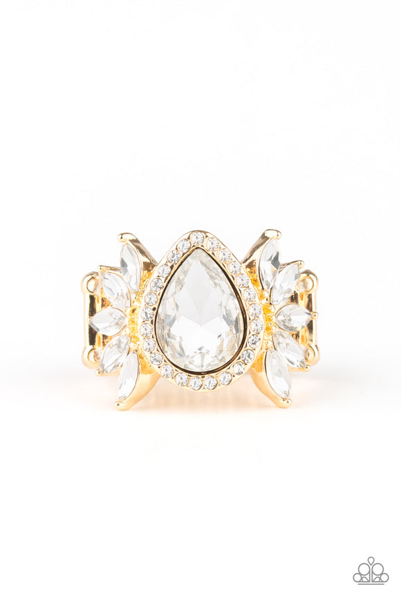 "Paparazzi ""Really Regal"" Gold Frame White Marquise Shaped Gem Ring Paparazzi Jewelry"