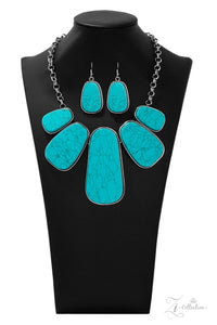 "Paparazzi ""Monumental"" Silver Frame Oblong Blue Turquoise Stone Necklace & Earring Set Zi Collection Paparazzi Jewelry"