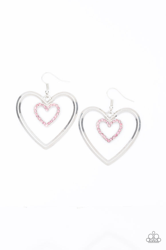 "Paparazzi ""Heart Candy Couture"" Pink Rhinestone Encrusted Silver Valentine Hoop Heart Earrings Paparazzi Jewelry"