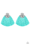 "Paparazzi ""Make Some PLUME"" Blue Thread  Flare Silver Post Earrings Paparazzi Jewelry"