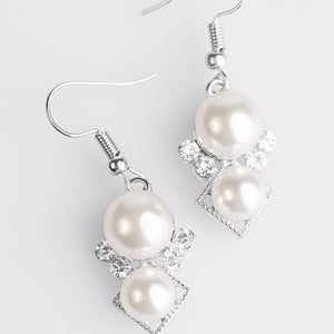 "Paparazzi ""Mrs. Gatsby"" White Rhinestones & Pearls Silver Tone Earrings Paparazzi Jewelry"
