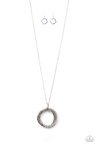 "Paparazzi ""Metal Marathon"" Silver Hoop Long Necklace & Earring Set Paparazzi Jewelry"