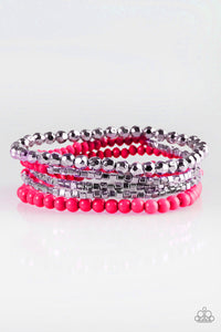 "Paparazzi ""Colorfully Chromatic"" Pink & Silver Square Bead Stretchy Bracelet Paparazzi Jewelry"
