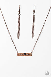 "Paparazzi ""I Am Brave"" Copper Pendant Engraved Necklace & Earring Set Paparazzi Jewelry"