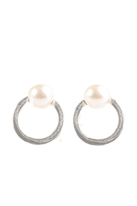 "Paparazzi ""GLAM Dunk"" Silver Circle White Pearl Post Earrings Paparazzi Jewelry"
